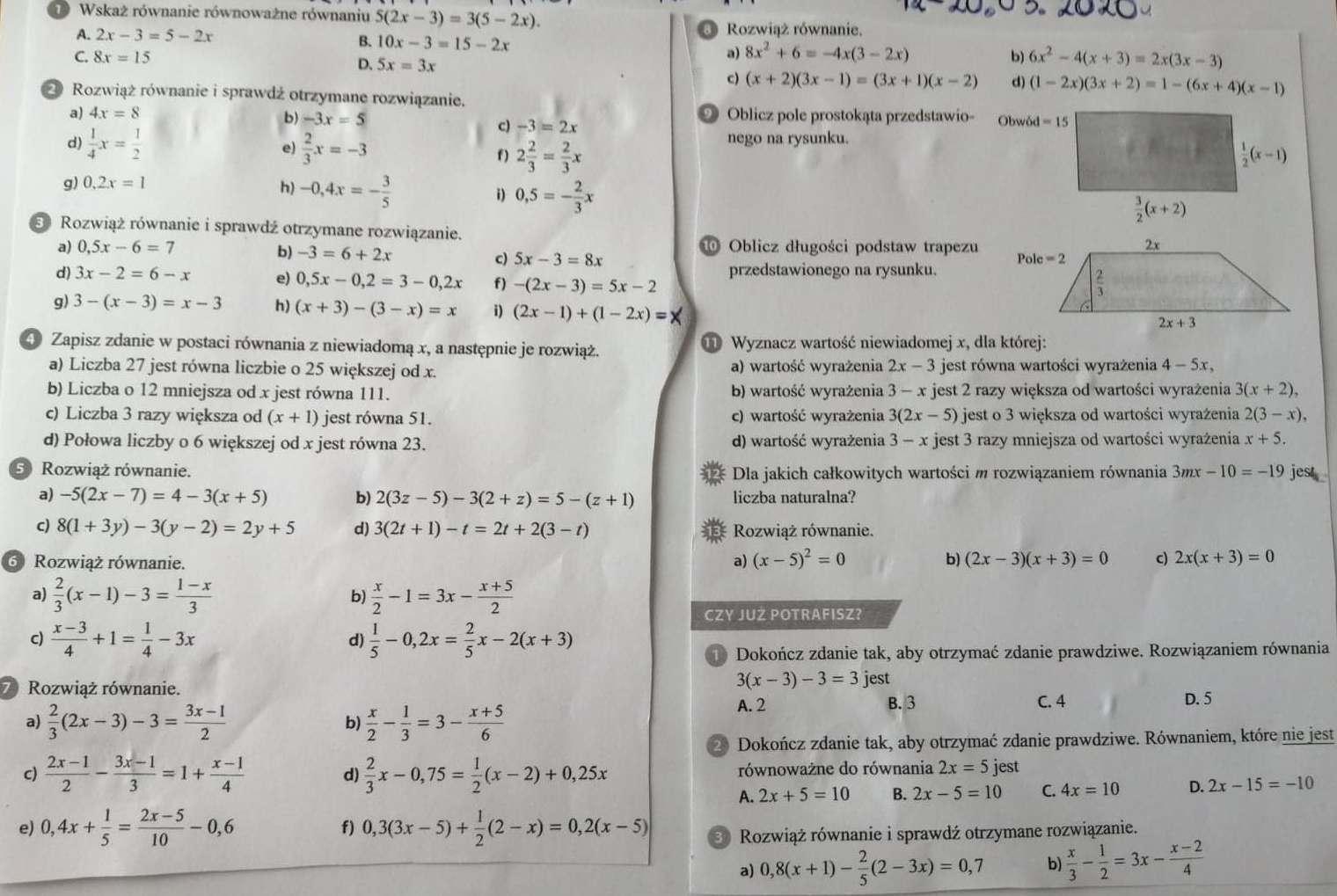 matematyka ćwiczenia 1 liceum odpowiedzi